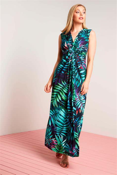 Summer Maxi Dress v neck tropical print summer maxi dress in multi
