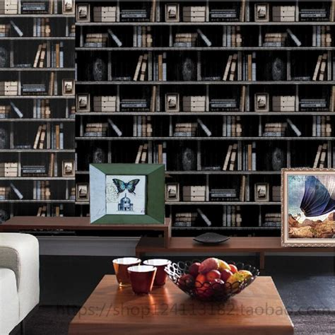 american 3d bookshelf pvc waterproof wallpaper bookcase