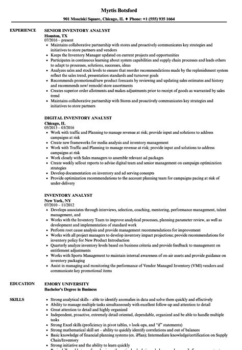 inventory analyst resume exle inventory analyst resume sles velvet