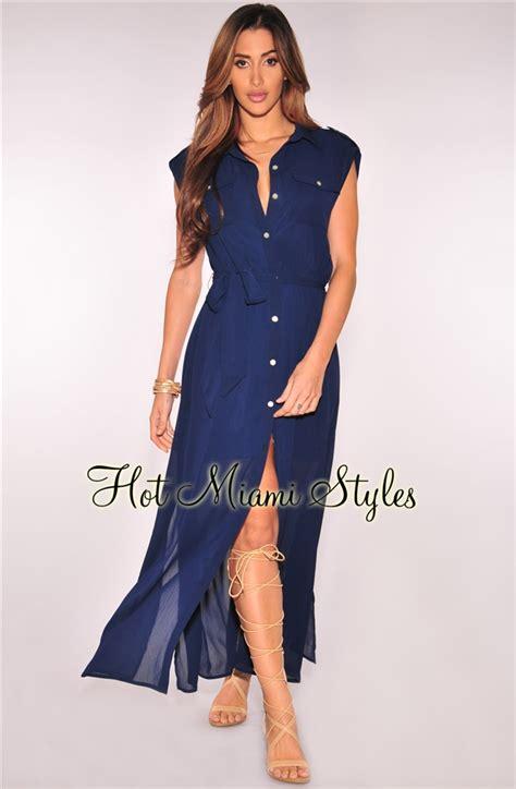Dress For Button navy blue button sleeveless belted maxi dress