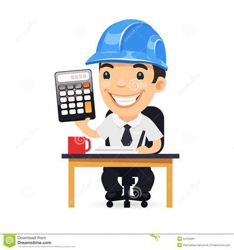 engineer cartoon character with calculator stock vector