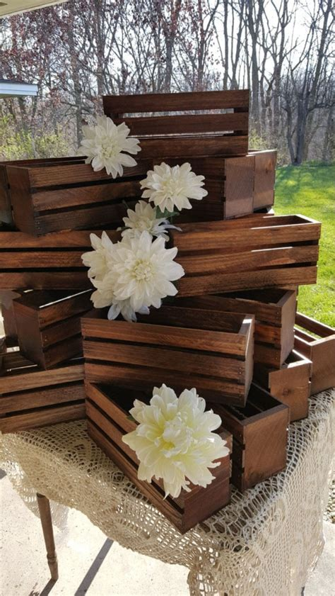 wood crates wedding centerpiece table decorations rustic