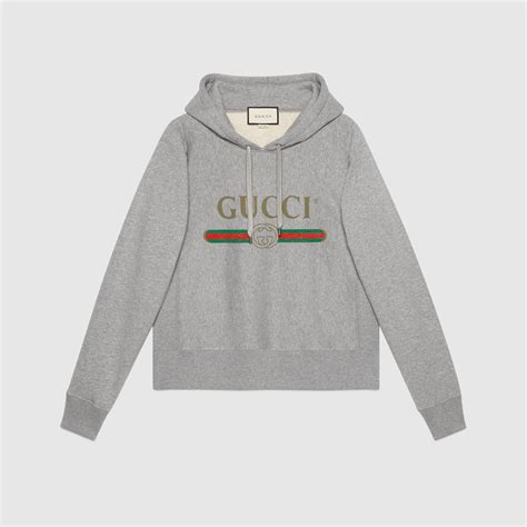 hooded cotton sweatshirt with gucci print gucci new