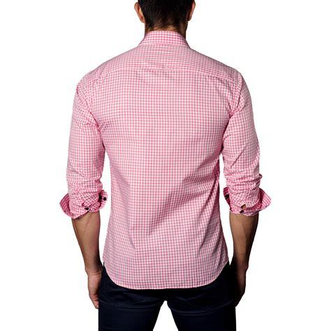 light pink button up shirt button up shirt light red plaid s jared lang