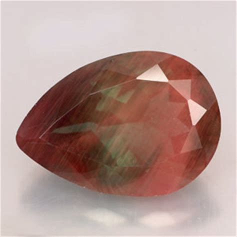 red gem pear red and green andesine gemstone image