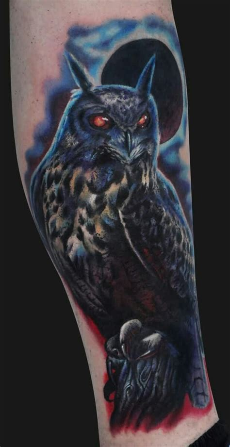 owl tattoo on leg calf by alex gallo 29 best images about owl tattoo ideas on pinterest big