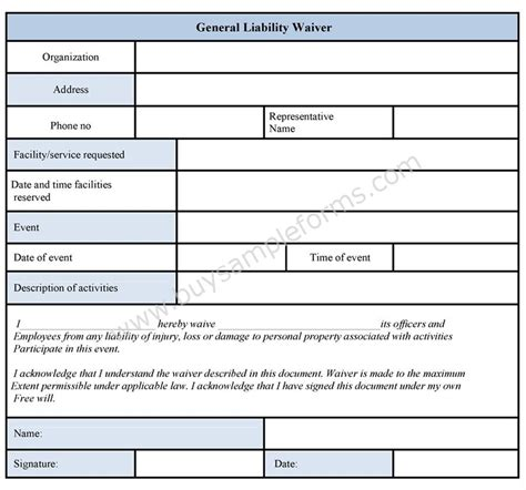 general liability waiver template general liability waiver form sle forms