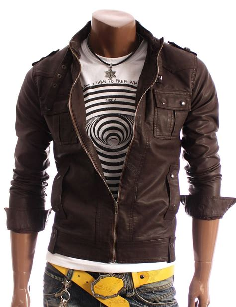 Handmade Jackets - handmade slim leather jacket brown biker leather