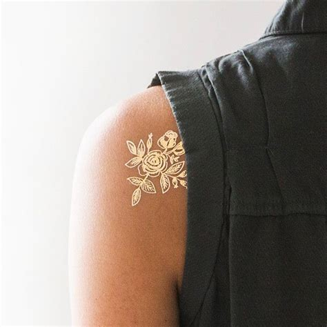 removable tattoo paper gold floral temporary tattoos paper and the gold