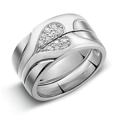 925 Silver Heart Shaped Diamond Creative Design Engraved Couple Rings   Couple Rings