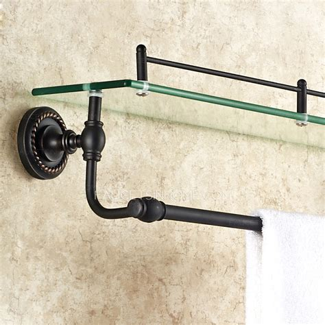 black bathroom towel bar american style single black glass bathroom shelves with
