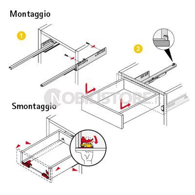 guide scorrimento cassetti guida quadro v6 silent system estrazione totale 30 kg