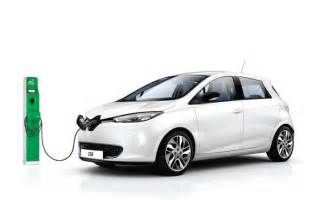 Electric renault zoe with government plug in electric car grant green
