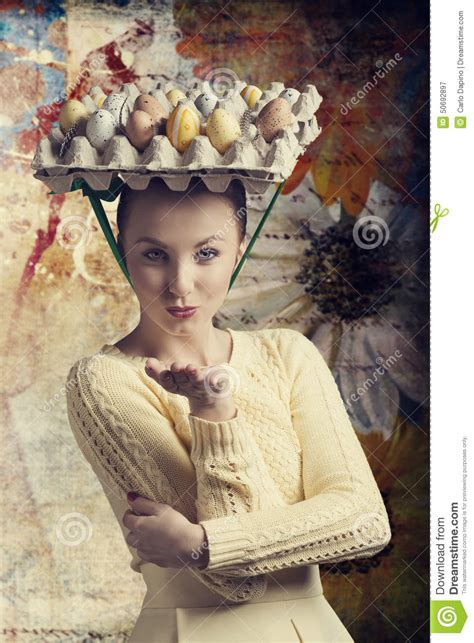easter time avarde look hairstles funny woman with easter eggs stock photo image 50692897