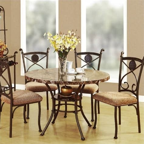 brown marble top dining table set 5 dining set faux marble top and metal kitchen table