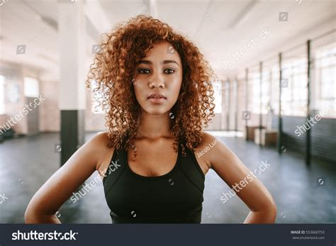afro hairstyles for gym portrait beautiful afro american female curly stock photo