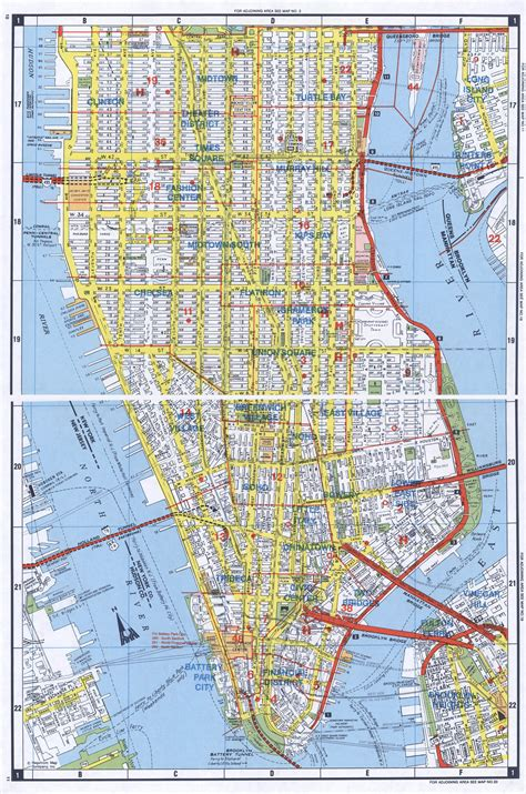 Large Detailed Road Map Of South Manhattan Nyc South