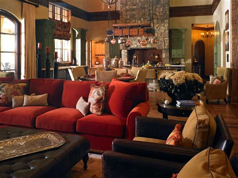 tuscan style great room   inviting seating area