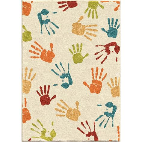 Kid Area Rugs Orian Court 3111 Handprints Ivory Area Rug