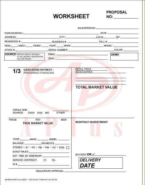 Printable Vehicle Inspection Form Car Sales Worksheet Template