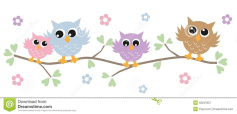Tree And Owl Wall Stickers colorful owls in a tree stock vector image of decoration