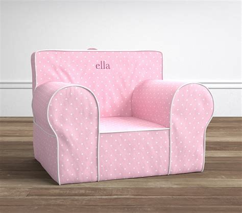 pottery barn kids chair slipcover light pink pin dot oversized anywhere chair 174 slipcover