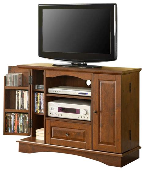walker edison 42 inch bedroom tv console with media