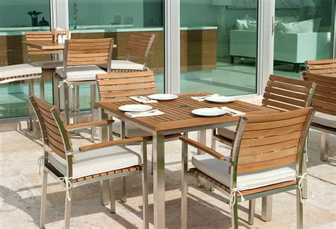 Stainless Steel Patio Furniture Teak And Stainless Steel Dining Set Westminster Teak Outdoor Furniture