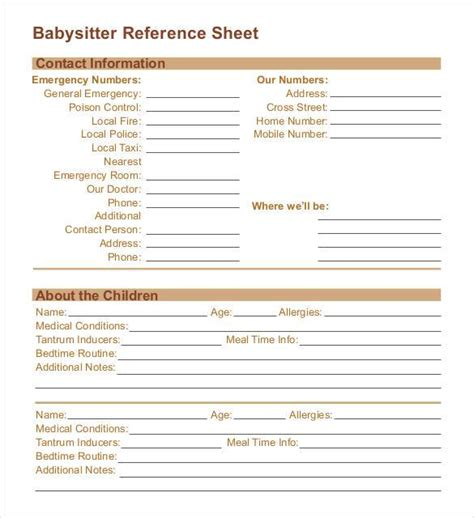 Babysitting References by Reference Sheet Template 30 Free Word Pdf Documents Free Premium Templates