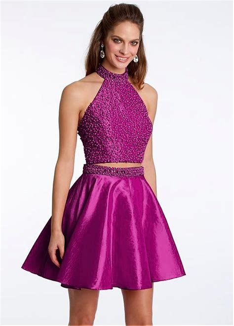 Buy discount Energetic Taffeta Halter Neckline A Line Short Two piece Homecoming Dresses With