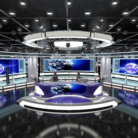 virtual tv studio news set model
