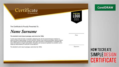 Tutorial How To Create Design A Certificate With Coreldraw Free Template Download Youtube Create Certificate Template