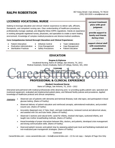 lvn resume template resume sle exle written by a professional