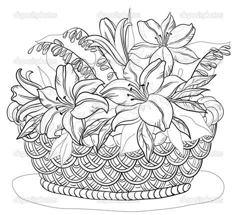 coloring pages of flowers in baskets flower basket drawing floweryweb dibujos varios