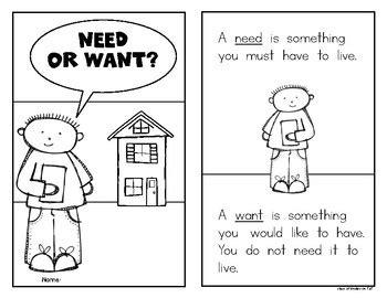 kindergarten activities needs and wants needs and wants emergent reader book social studies