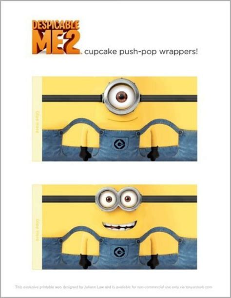 printable minion wrapping paper despicable me 2 party push up cupcakes free printable
