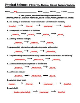 Energy Transfer Worksheet Answers by Energy Transformation Worksheet Answers Wiildcreative