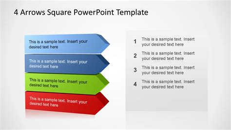 4 arrows square powerpoint template slidemodel