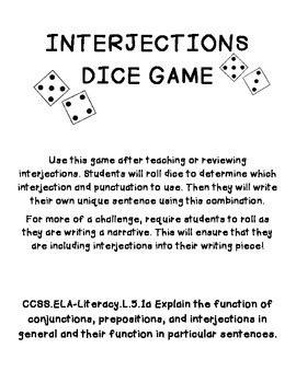 Interjections Dice Game by TeacherCreature | Teachers Pay