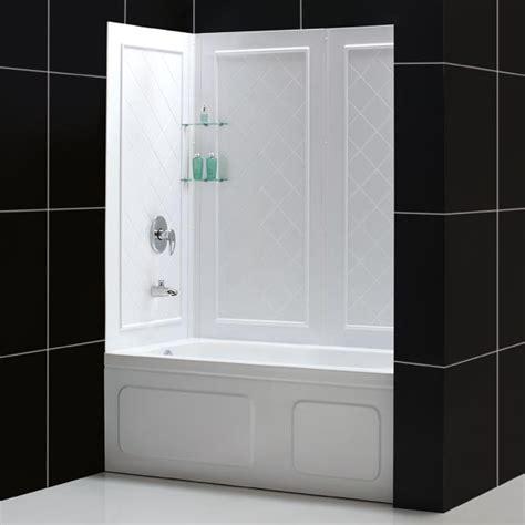 bathtub and shower kits dreamline showers duet bypass sliding tub door backwalls