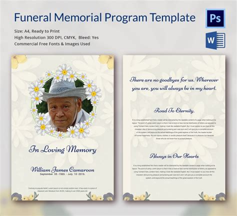 template for a funeral program 5 funeral memorial templates free word pdf psd
