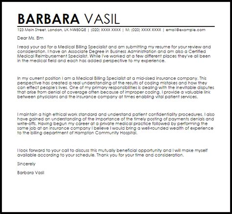 cover letter for billing specialist cover letter for coding