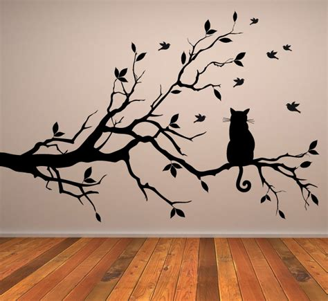 cat wall sticker cat on tree branch wall sticker animals cats and dogs
