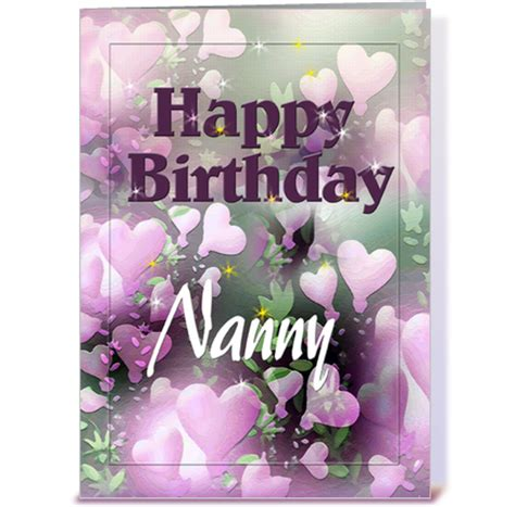 Printable Birthday Cards Nanny | happy birthday nanny pretty hearts greeting card by