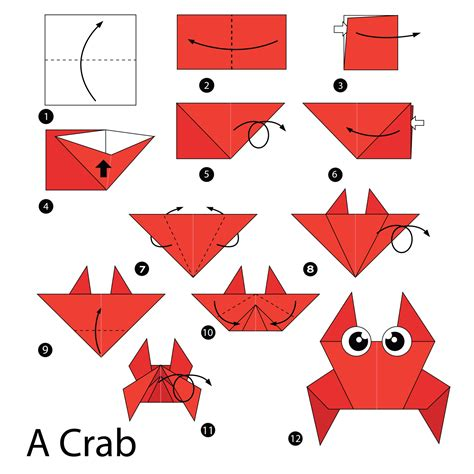 Origami Steps For - simple origami how to fold a crab origami