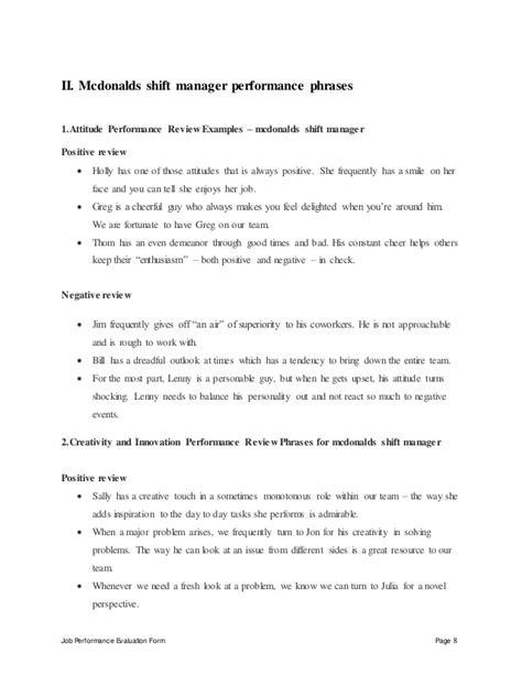 shift lead description template