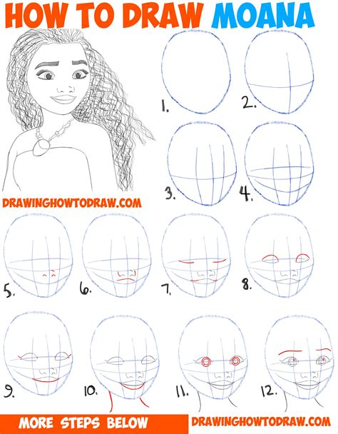 how to draw for beginners free how to draw moana easy step by step drawing tutorial for