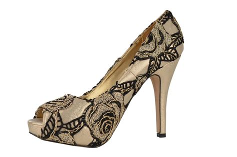flower pattern shoes uk womens high heel platform peep toe lace woves flower