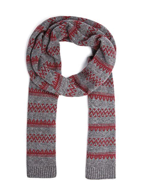 knitting pattern fair isle scarf mango fair isle pattern knit scarf in brown maroon lyst