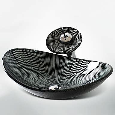 Black And White Vessel Sink by Black White Boat Shaped Tempered Glass Vessel Sink With